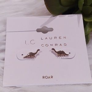 """""""Roar"""" Dinosaur Earrings, Gold"""